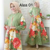 Pakaian Baju Busana Muslim Wanita ALEA Maxi Dress Gamis Tebaru
