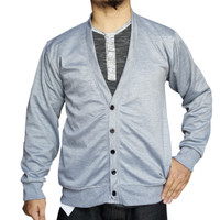 Muscle Fit Cardigan Pria V-neck Polos
