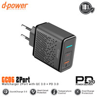 d-power GC06 Wall Charger 2 port QC 3.0 & PD 3.0 Fast Charging - Black