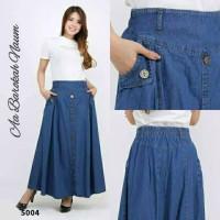 Rok Panjang Jeans Polos Wanita Muslim Rok Levis Cewek Muslimah Premium