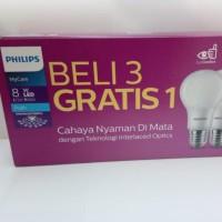 Lampu LED Bulb Philips 8W Paket 3 Gratis 1 (isi 4pcs)