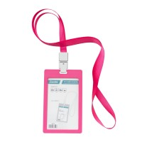 Bantex ID Card Holder Larnyard 54x90mm Portarit Pink #8865 19