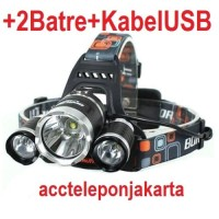 PAKET Headlamp Cree XM-L T6 5000 Lumens Senter Kepala 18650 +kabel usb