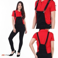 Celana Overall Jeans Wanita Jumpsuit Kodok Baju Monyet - Hitam, 27