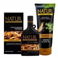 NATUR Ginseng Shampoo 270ml Paket dengan Conditioner Ginseng
