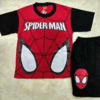 Kaos Setelan Anak Laki Keren Gambar Face Spiderman