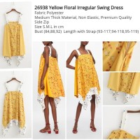 Yellow Floral Irregular Swing Dress (size S,M,L) -26938