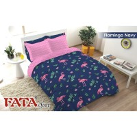 BED COVER SET FATA SINGLE SIZE 120 X 200 - FLAMINGO NAVY NEW
