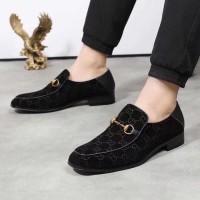 sepatu pria formal gucci suede embos pantofel vip quality