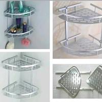 Rak Sudut Tembok Dinding Stainless Aluminium Corner Shelf Rack 2 stack