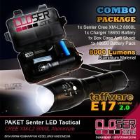 PAKET Senter LED Tactical CREE XM-L2 8000L Aluminium 5 MODE Kedip part