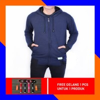 JAKET SWEATER ZIPPER PRIA COTTON TAIWAN (FULL COTTON) - NAVY BLUE