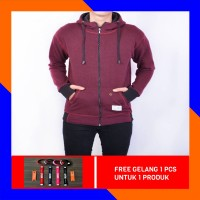 JAKET SWEATER ZIPPER PRIA COTTON TAIWAN (FULL COTTON) - RED