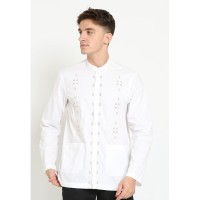 Jobb Fadho Baju Koko Pria Lengan Panjang Regular Fit Putih