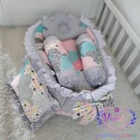 kasur bayi baby nest awan love pink dan bantal guling bayi