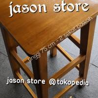 Kursi kayu 75 cm (2 sekat)/Bangku kayu 75 cm/Kursi kayu segi