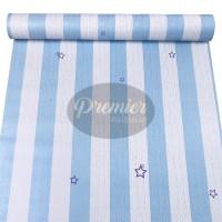 Stripes Biru & Cream Bintang Wallpaper | 45CM x 10M