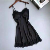 Lingerie Dress Wanita V Neck Renda Hitam Premium