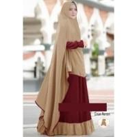 6834 Gamis syari khimar jumbo cream maroon size XXL elegant maxi 7567