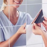 Mirror Wall Sticker Fender 3D Square Wallpaper Cermin Dekorasi 9 pcs