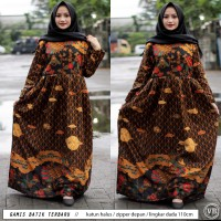 (Big size) Gamis Batik Sogan / Gamis Syari / fashion wanita muslim