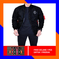 JAKET BOMBER PRIA PUMA SCOT KOREA MIX DAKRON WATERPROOF - Black