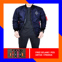 JAKET BOMBER PILOT BOLAK BALIK PRIA MIX COTTON FLEECE - Blue