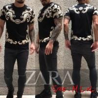 Kaos Zarra Men Black & White Full Print New Series