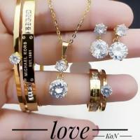 Titanium set perhiasan lapis emas 24k 441a