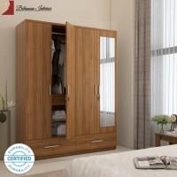 Belanova Interior - Lemari Pakaian 4 Pintu Rossford Series + Cermin