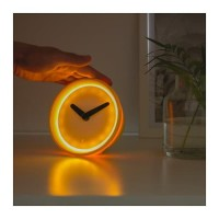 Jam Meja Sensor Sentuh IKEA STOLPA Glow in The Dark Clock 14 cm