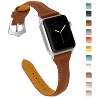 Slim T Leather Strap Band Stainless Buckle for APPLE WATCH 38MM 40MM