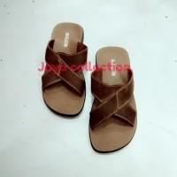 sandal pria kulit sapi Asli jc21c coklat tua