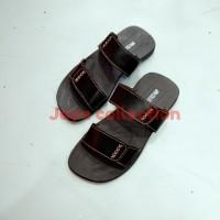 sandal pria kulit sapi Asli jc28 coklat tua