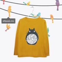 Tumblr Tee / T-Shirt / Kaos Wanita Lengan Panjang Totoro Warna Mustard