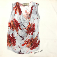 Preloved floral print sleeveless top import / atasan blouse branded