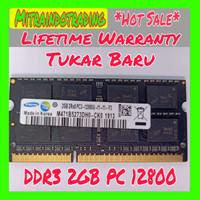 RAM SAMSUNG SODIMM DDR3 2GB PC12800 BERGARANSI
