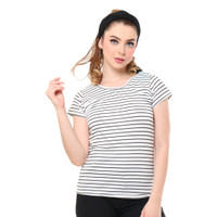 MOSIRU Kaos Wanita Baju Oblong Termurah Tumblr Tee O-neck Salur Middle