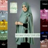Khimar risty list pita khimar syari jumbo non pet hijab jilbab