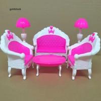 GDCK Mini Furniture Sofa Couch Floor Lamp Table Doll House Toy Decor A