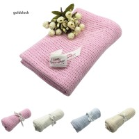 GDCK Baby Newborn Soft Warm Cotton Solid Color Knitted Crochet Rectang