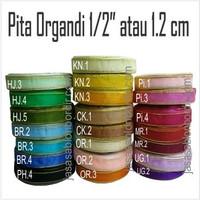 Pita Organdi list emas 0.5 inch atau 1.2cm