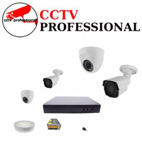 CCTV 4 CAMERA PAKET 4K ULTRA HD 5MP INDOOR OUTDOOR LENGKAP PLUS HDD