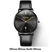 OLEVS Jam Tangan Pria Calendar Watches Water Resistant Tali Kulit 5869