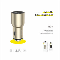 Resong RC8 Metal Car Charger 2USB 2.1A
