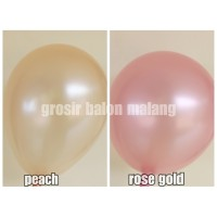 balon latex metalik warna rose gold/peach