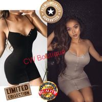 Mini Dress Tanktop Bodycon V Neck Night Dress Pakaian Wanita Korean