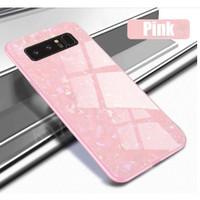 Samsung S10 Plus Luxury Shining Marble Tempered Glass Case soft case - Hitam