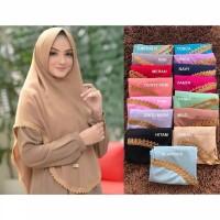 Khimar Fatimah Renda Bahan Diamond georgette jilbab kerudung hijab Pet