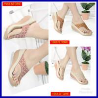 sandal wanita wedges Laser Motif Bordiran Batik elegan berkualitas